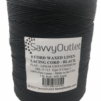 SavvyOutlet Black 6 Cord Waxed Linen Lacing Cord