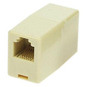 CharlesSimpson.com RJ25 Telephone Line Coupler, 6P6C, Reverse, Ivory