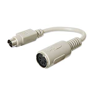 CharlesSimpson.com Ziotek 6in. Adapter PS2 Mini Din6 Male to Din5 Female Cable ZT1310420