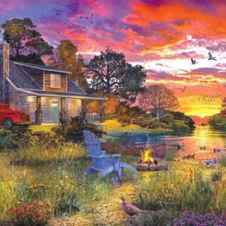 CharlesSimpson.com Evening Cabin - 1000 Piece Jigsaw Puzzle